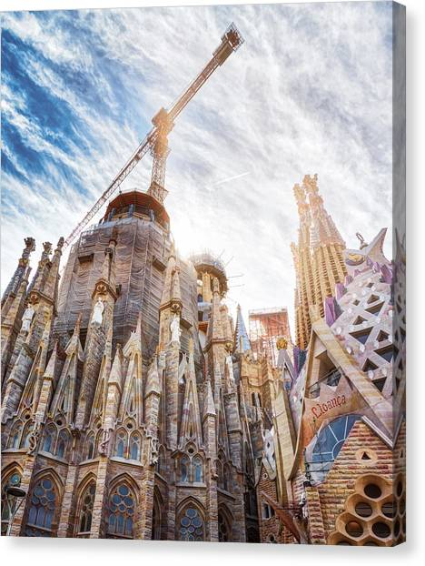 Architectural Details Of The Sagrada Familia In Barcelona Canvas Print