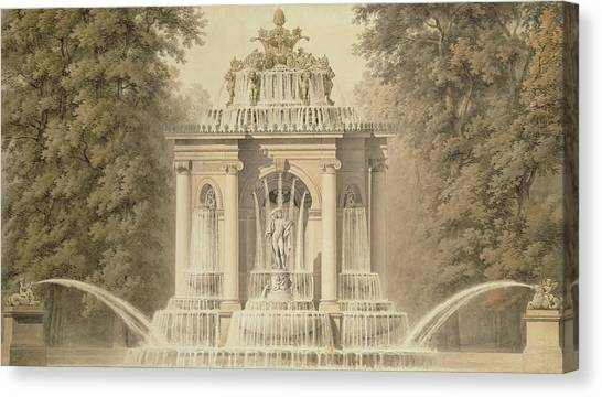 Victorian Garden Canvas Print - Architectural Water Folly by English School
