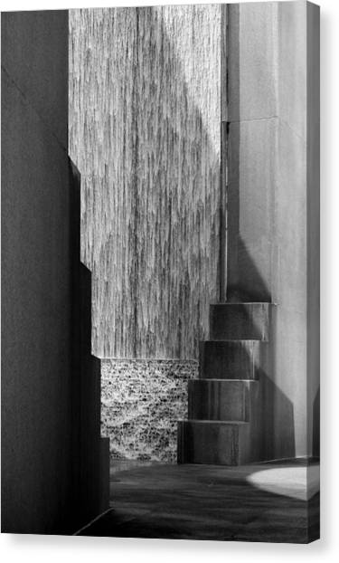 Architectural Waterfall In Black And White Canvas Print