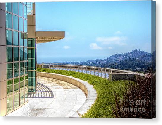 J Paul Getty Canvas Print - Architecture J. Paul Getty Museum California  by Chuck Kuhn