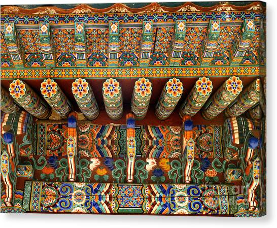 architecture of Korean Buddhism - Eaves of Sangwongsa Canvas Print by Sharon Hudson