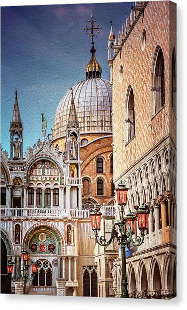 Byzantine Art Canvas Print - Architecture Of St Marks Square Venice Italy  by Carol Japp