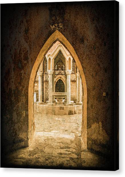 Canvas Print featuring the photograph Rhodes, Greece - Archway by Mark Forte