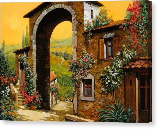 Wine Art Canvas Print - Arco Di Paese by Guido Borelli