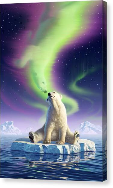 Polar Bears Canvas Print - Arctic Kiss by Jerry LoFaro