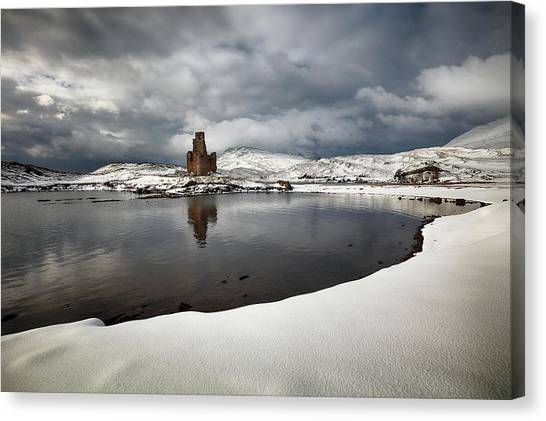 Canvas Print featuring the photograph Ardvreck Castle In Winter by Grant Glendinning