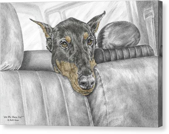 Are We There Yet - Doberman Pinscher Dog Print Color Tinted Canvas Print