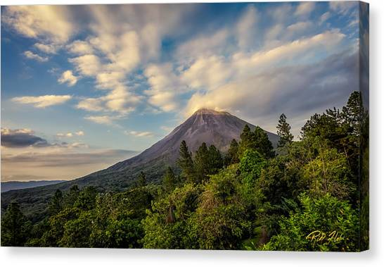 Arenal Volcano Canvas Print - Arenal At Dusk  by Rikk Flohr