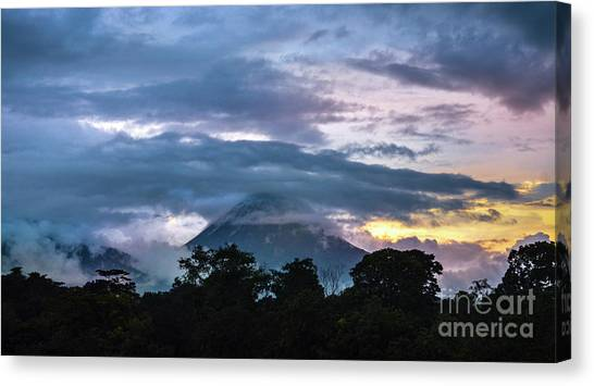 Arenal Volcano Canvas Print - Arenal Under Clouds by Ksenia VanderHoff