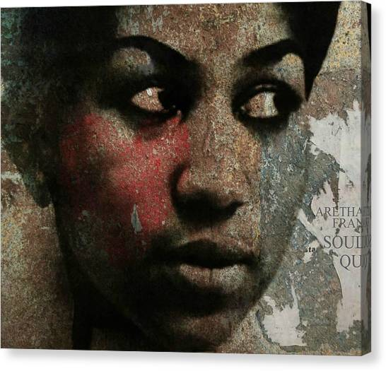 Rhythm And Blues Canvas Print - Aretha Franklin - Tribute by Paul Lovering