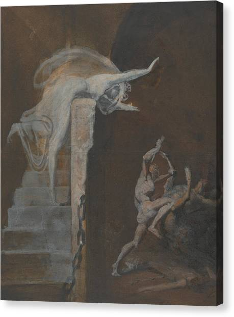 Minotaurs Canvas Print - Ariadne Watching The Struggle Of Theseus With The Minotaur by Henry Fuseli