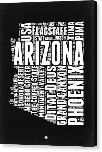 Phoenix Canvas Print - Arizona Black And White Word Cloud Map by Naxart Studio
