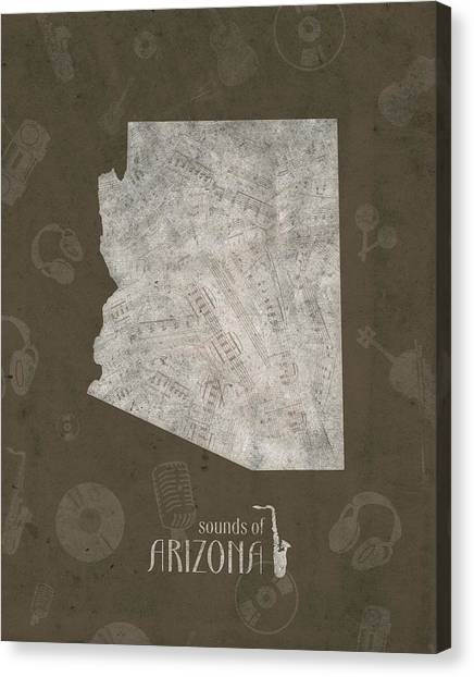 Southwest Canvas Print - Arizona Map Music Notes 3 by Bekim M