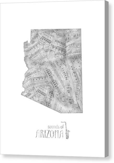 Southwest Canvas Print - Arizona Map Music Notes by Bekim M