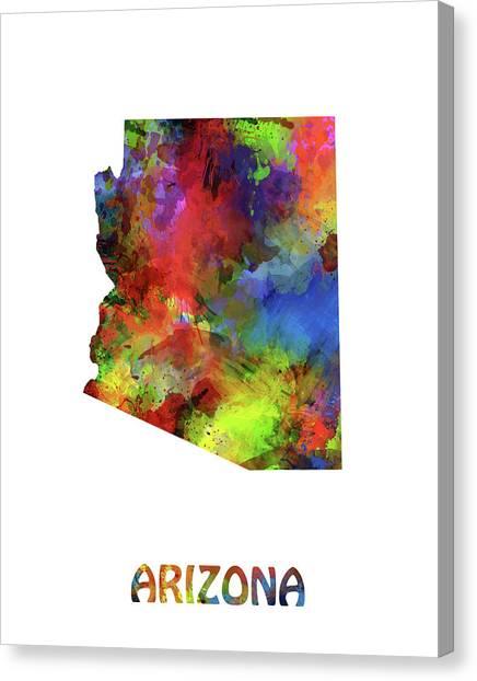 Southwest Canvas Print - Arizona Map Watercolor by Bekim M