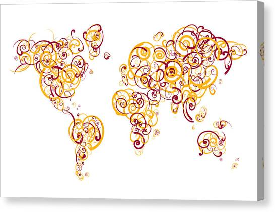 Arizona State University Asu Tempe Canvas Print - Arizona State University Colors Swirl Map Of The World Atlas by Jurq Studio