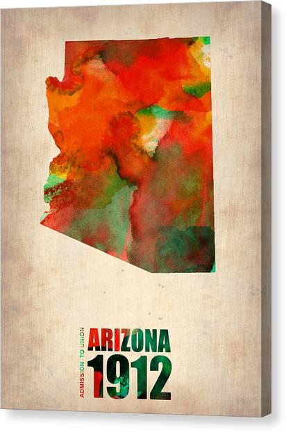 Arizona Canvas Print - Arizona Watercolor Map by Naxart Studio