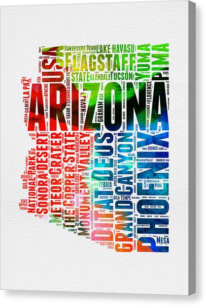 Phoenix Canvas Print - Arizona Watercolor Word Cloud Map  by Naxart Studio