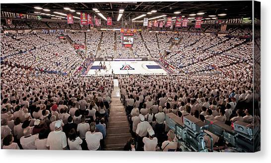 University Of Arizona Ua Canvas Print - Arizona Wildcats White Out At Mckale Center by Replay Photos