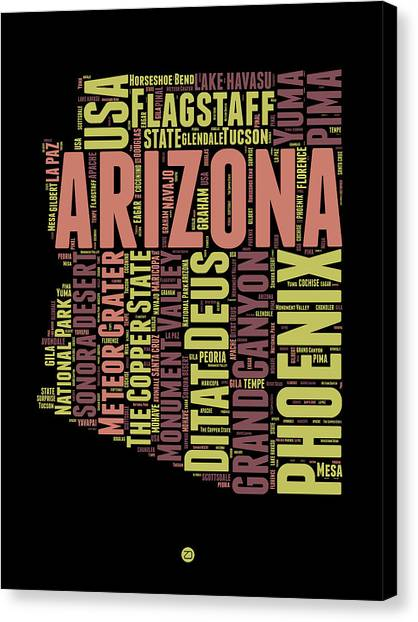 Phoenix Canvas Print - Arizona Word Cloud Map 1 by Naxart Studio