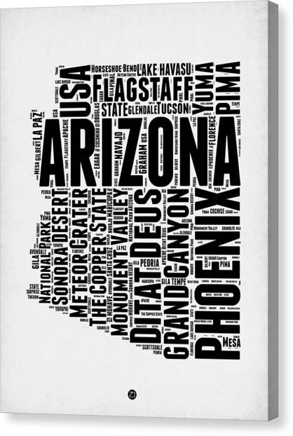 Phoenix Canvas Print - Arizona Word Cloud Map 2 by Naxart Studio