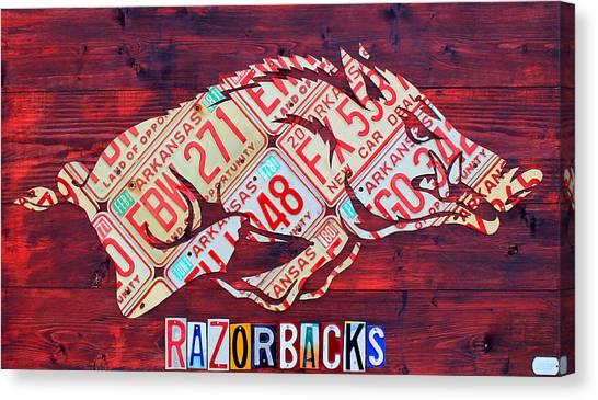 Arkansas Canvas Print - Arkansas Razorbacks Recycled Vintage License Plate Art Sports Team Logo by Design Turnpike