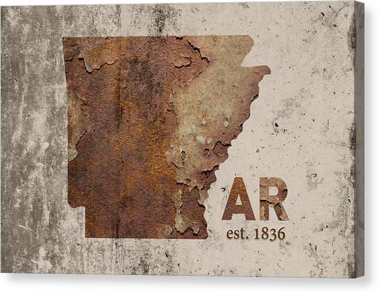 Arkansas Canvas Print - Arkansas State Map Industrial Rusted Metal On Cement Wall With Founding Date Series 034 by Design Turnpike
