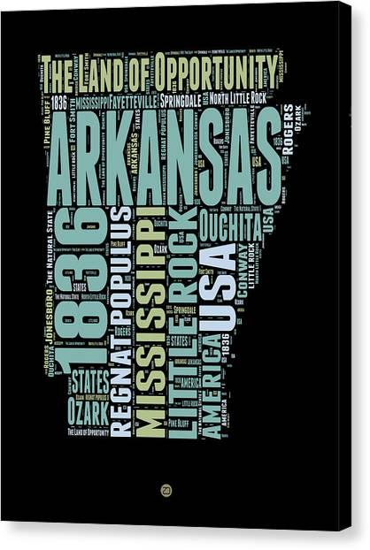 Arkansas Canvas Print - Arkansas Word Cloud 1 by Naxart Studio