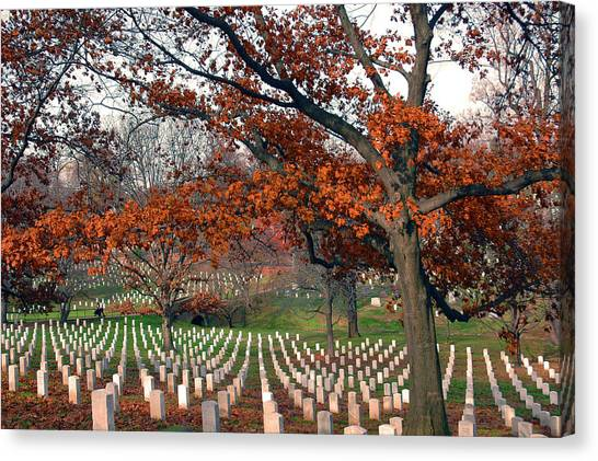 Arlington Cemetery In Fall Canvas Print