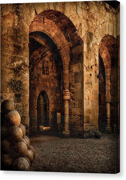 Canvas Print featuring the photograph Rhodes, Greece - Armed Gate by Mark Forte