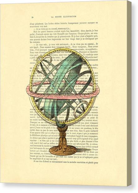 Celestial Globe Canvas Print - Armillary Sphere In Color Antique Illustration On Book Page by Madame Memento