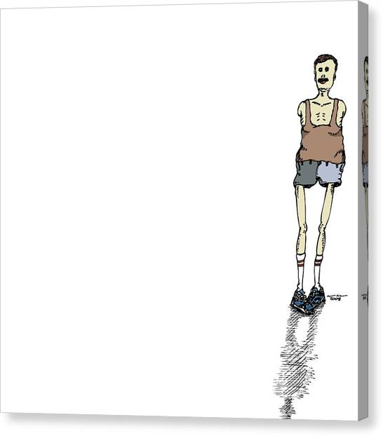 Armless Man With Short Shorts Canvas Print by Karl Addison