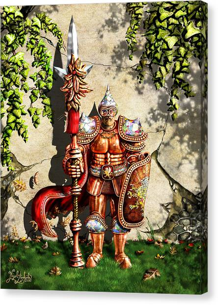 Armored Imperial Gryphon Guard Wielding A Shield And Ranseur Canvas Print by Nigel Andreola