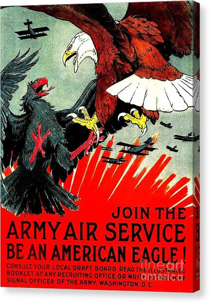 Army Air Service Recruitment Poster 1918 Canvas Print