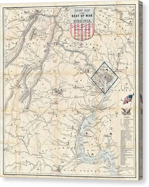 Army Of The Potomac Canvas Print - Army Map Of Seat Of War In Virginia 1862 by Stephen Stookey