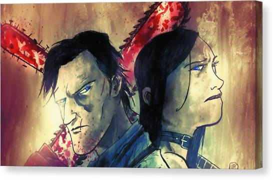 Bass Guitars Canvas Print - Army Of Darkness Vs. Hack/slash by Super Lovely