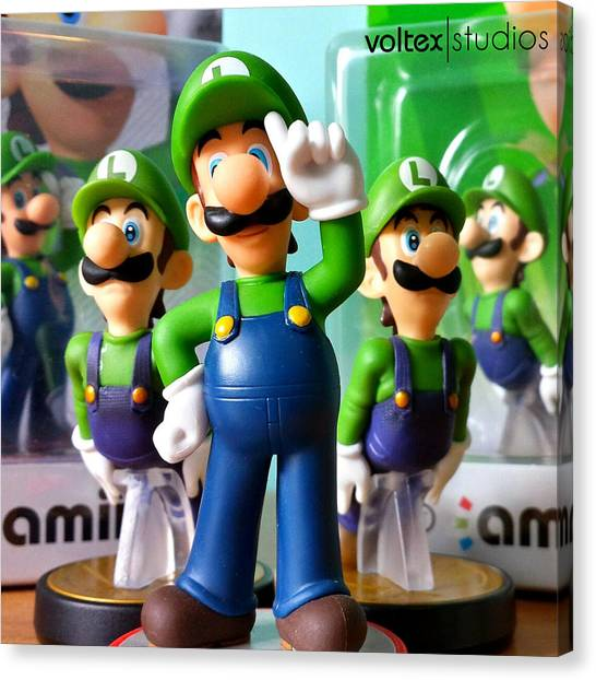 Wii Canvas Print - Army Of Luigi by Voltex Broughton