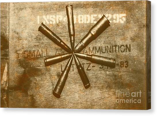 Brass Canvas Print - Army Star Bullets by Jorgo Photography - Wall Art Gallery
