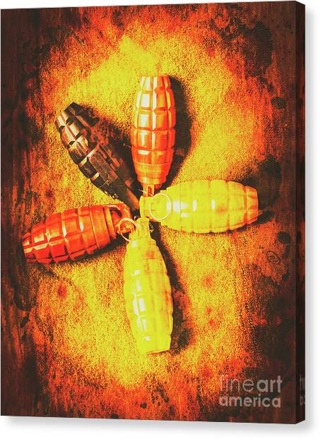 Grenades Canvas Print - Army Star Grenade  by Jorgo Photography - Wall Art Gallery