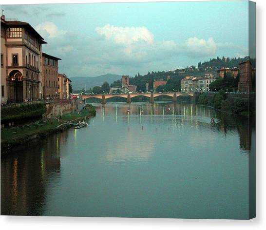 Canvas Print featuring the photograph Arno River, Florence, Italy by Mark Czerniec