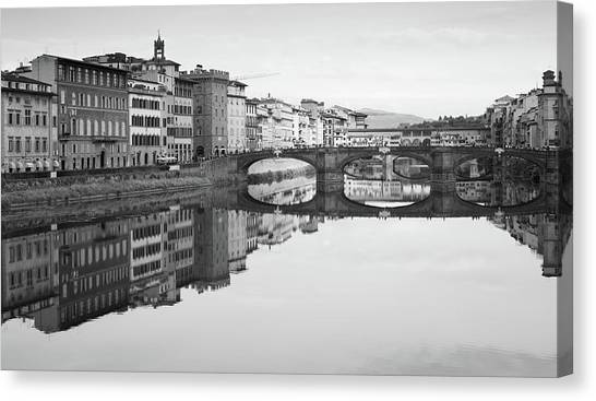 Arno River Reflection, Florence, Italy Canvas Print