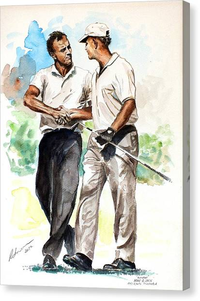 Arnold Palmer Canvas Print - Arnold Palmer And Jack Nicklaus Watercolour Sketch by Mark Robinson