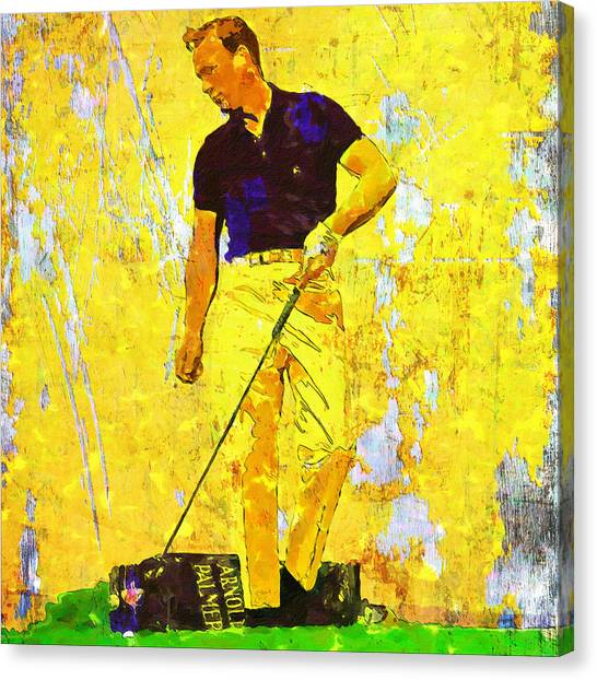 Arnold Palmer Canvas Print - Arnold Palmer Legend In Yellow by John Farr