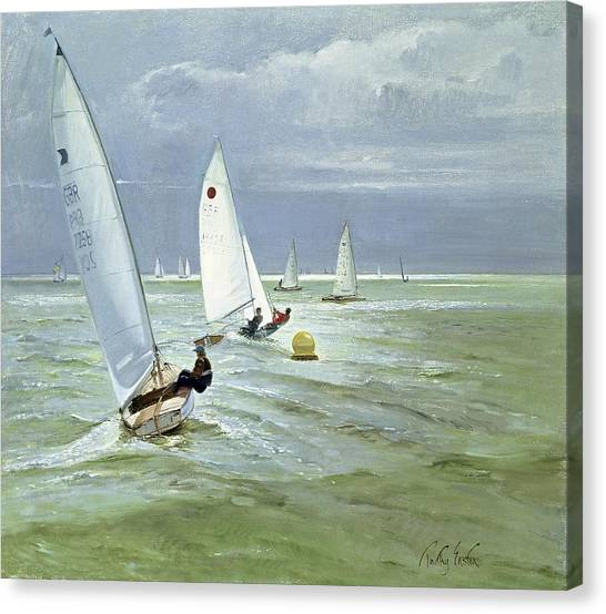 Sailing Race Canvas Print - Around The Buoy by Timothy Easton