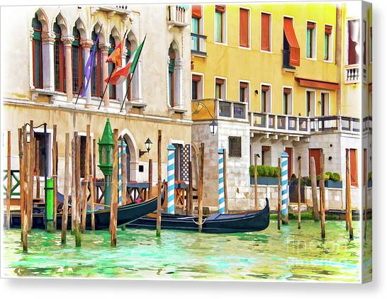 Gondola Ride Canvas Print - Arrival In Venice by Delphimages Photo Creations