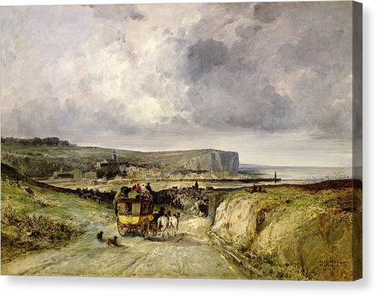 Ocean Cliffs Canvas Print - Arrival Of A Stagecoach At Treport by Jules Achille Noel