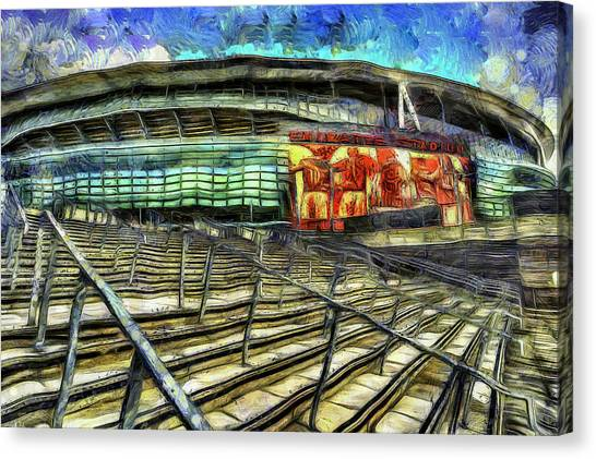 Arsenal Fc Canvas Print - Arsenal Fc Emirates Stadium Van Gogh by David Pyatt