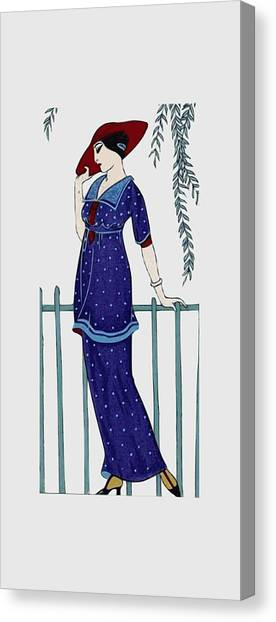 Art Deco Fashion Polka Dots Canvas Print