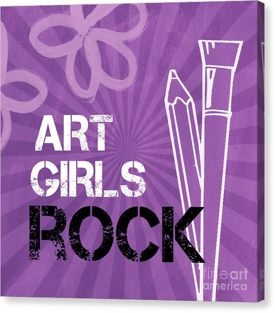 Purple Canvas Print - Art Girls Rock by Linda Woods