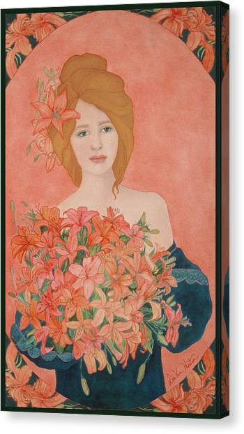 Art Nouveau Lilies Canvas Print